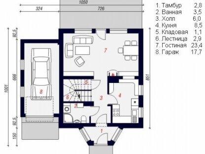 План первого этажа дома из бруса