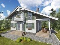 Берн - Проект дома из бруса в стиле 'шале': полтора этажа, 10 х 12 м., 139 кв. м., балкон, терраса