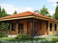 Эдисон - Проект одноэтажного дома из бруса, 10 х 12 м., 109 кв. м., с террасой