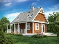 Трир - Проект дома из бруса: 9 х 9 м., мансарда, 96 кв. м., с террасой