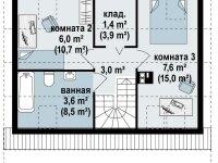 План второго этажа дома из бруса с мансардой