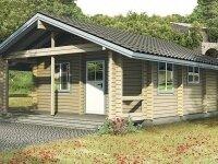 Вудбридж - Проект одноэтажного дома из бруса, 6 х 8 м., 56 кв. м., с террасой