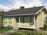 Фельберт - Проект дома из бруса: 6 х 9 м., мансарда, 88 кв. м., с террасой