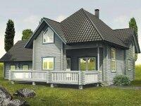 Изерлон - Проект дома из бруса: 19 х 20 м., мансарда, 353 кв. м., с гаражом и террасой
