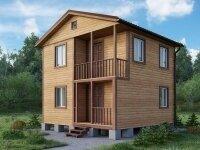 Кимберли - Проект двухэтажного дома из бруса: 6 х 6 м., 72 кв. м., с террасой и балконом
