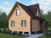 Дессау - Проект дома из бруса: 6 х 6 м., мансарда, 59 кв. м., с террасой