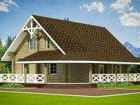 Зиген - Проект дома из бруса: 8 х 12 м., мансарда, 236 кв. м., с балконом и террасой