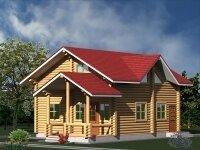 Дюрен - Проект полутораэтажного дома из бруса: 8 х 9 м., 156 кв. м., с террасой