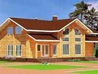 Берген - Проект полутораэтажного дома из бруса: 9 х 15 м., 264 кв. м., с террасой и баней