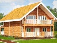 Раума - Проект полутораэтажного дома из бруса: 11 х 14 м., 385 кв. м., с террасой, балконом и баней