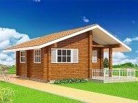 Ричардсон - Проект одноэтажного дома из бруса, 7 х 9 м., 54 кв. м., с террасой