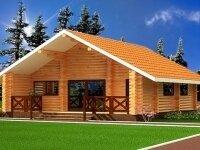 Эри - Проект одноэтажного дома из бруса, 6 х 7 м., 46 кв. м., с террасой