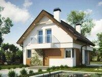 Хемседал - Проект полутораэтажного дома из бруса: 8 х 9 м., 103 кв. м., с балконом