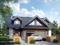 Нильсия - Проект полутораэтажного дома из бруса на двух хозяев с гаражом: 13 х 15 м., 318 кв. м., балкон, терраса