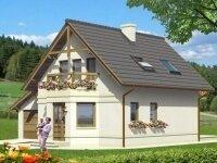 Ботроп - Проект дома из бруса с мансардой: 10 х 10 м., 108 кв. м., с гаражом, балконом и эркером