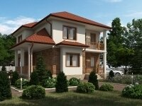 Крестон - Проект двухэтажного дома из бруса: 10 х 10 м., 126 кв. м., с террасой и балконом