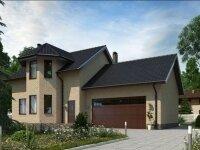 Лапуа - Проект полутораэтажного дома из бруса с гаражом и эркером: 8 х 17 м., 168 кв. м.