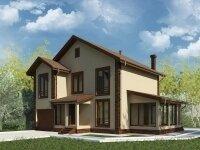 Бернаби - Проект двухэтажного дома из бруса с гаражом, балконом, террасой, бойлерной и эркером: 12 х 14 м., 185 кв. м.