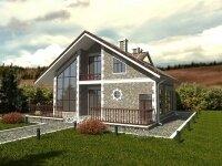Нойс - Проект дома из бруса с мансардой: 11 х 14 м., 267 кв. м., с балконом, террасой, сауной и бойлерной