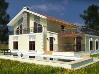 Нивала - Проект полутораэтажного дома из бруса с гаражом: 12 х 14 м., 272 кв. м., терраса, сауна, балкон