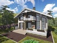 Женева - Проект дома из бруса в стиле 'шале': полтора этажа, 10 х 12 м., 172 кв. м., балкон, терраса